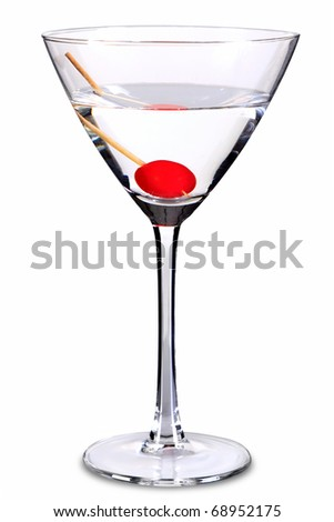 Photo of a sweet martini in cocktail glass, isolated on a white background with clipping path. The drink consisits of 1 part Gin 1 part Sweet Vermouth and a maraschino cherry.