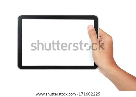 photo of a tablet held by a hand horizontally isolated on white background - stock photo