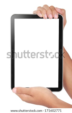 photo of a tablet held by two hands isolated on white background - stock photo