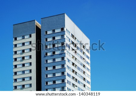 photo of a tall block of flats or offices in London - stock photo