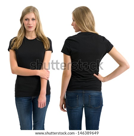 Photo of a teenage female with long blond hair posing with a blank black shirt.  Front and back views ready for your artwork or designs. - stock photo