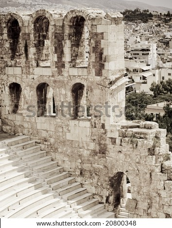 Photo of a theater right next to the acropolis in Athens Greece. - stock photo