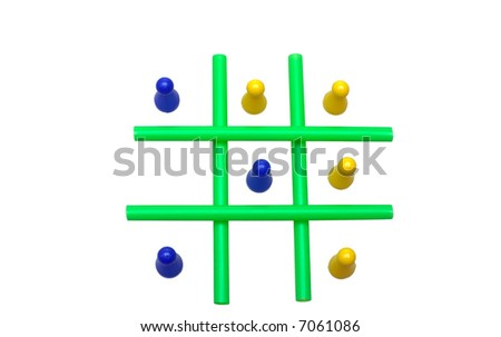 Photo of a Tic Tac Toe game in progress. The objects are isolated over white. - stock photo