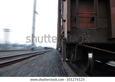 Photo of a train in motion - stock photo