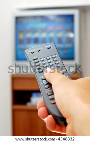 Photo of a TV remote control. - stock photo