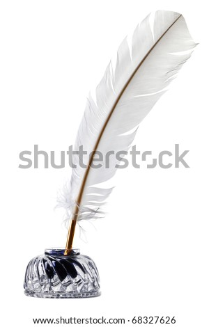 Photo of a White feather quill pen and glass inkwell isolated on a white background. - stock photo