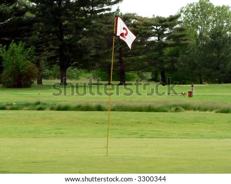 photo of a white flag on a putting green of a golf course