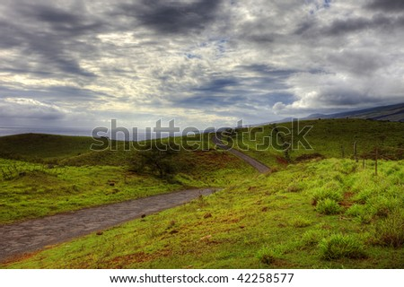 photo of a winding scenic road in southeast maui hawaii - stock photo