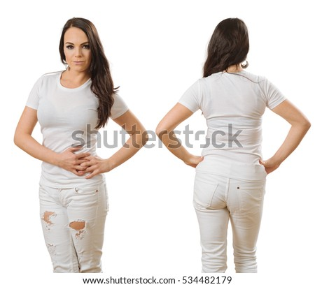 Photo of a woman posing with a blank white t-shirt, ready for your artwork or design.