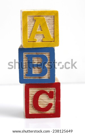 Photo of a Wooden Alphabet Block Spelling ABC - stock photo