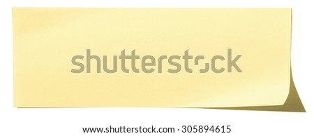 Photo of a yellow Note Paper. Isolated on white background with shadow - stock photo