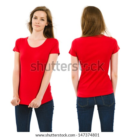 Photo of a young adult female posing with a blank red shirt.  Front and back views ready for your artwork or designs.