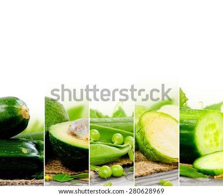 Photo of abstract green vegetable mix with white space for text - stock photo