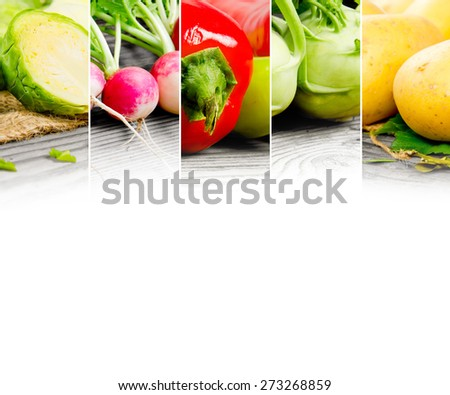 Photo of abstract vegetable mix with white space for text - stock photo