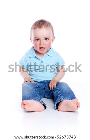 Photo of adorable young boy on white background