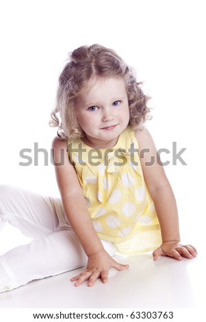 Photo of adorable young girl on white