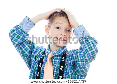 Photo of adorable young happy boy looking at camera. - stock photo