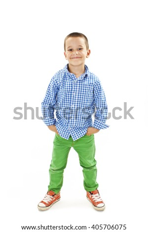 Photo of adorable young happy boy looking at camera.Isolated on white background   - stock photo