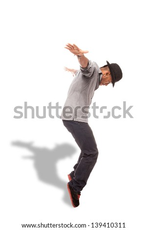 photo of afro amerIcan dancer over white isolated background - stock photo