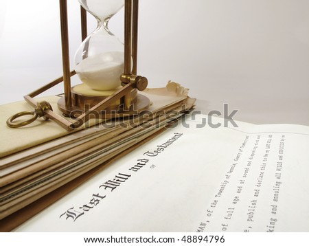 Photo of an actual will with fictitious town and county names - stock photo