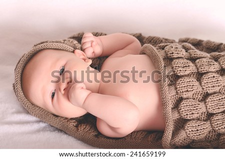 Photo of an adorable baby boy - stock photo