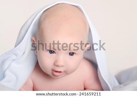 Photo of an adorable baby boy - stock photo