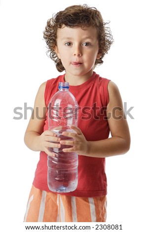 photo of an adorable boy drinking water a over white background - stock photo
