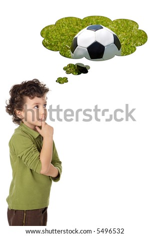 photo of an adorable boy thinking a over white background - stock photo