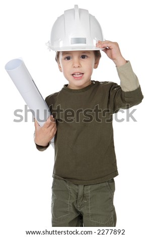 photo of an adorable future architect over a white background - stock photo