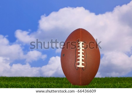 Photo of an American football tee'd up on the grass - stock photo