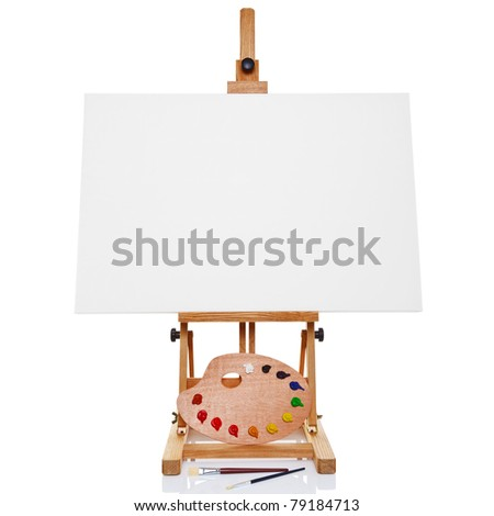 Photo of an artists easel with a blank canvas plus palette of paint and brushes, isolated on a white background. - stock photo