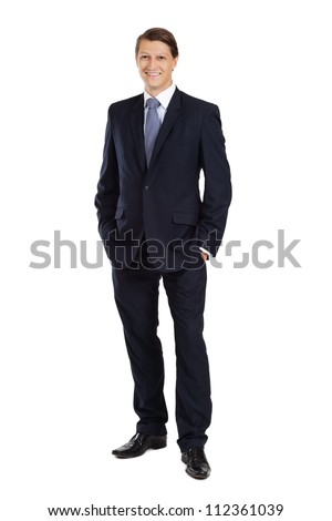 Photo of an attractive businessman smiling over a white background. - stock photo