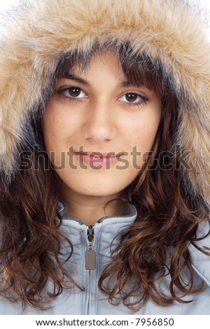 photo of an attractive lady sheltered for the winter