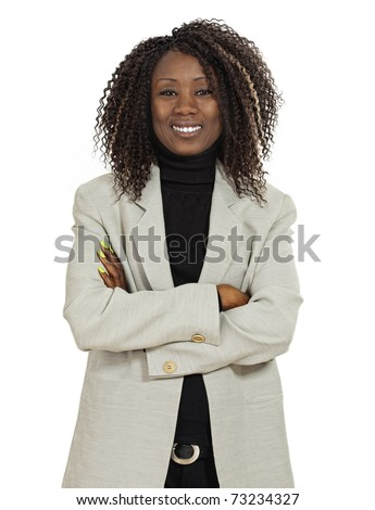 Photo of an attractive young woman standing with her arms folded. White Background