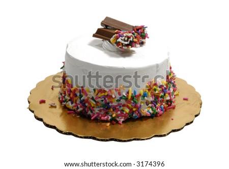 Photo of an Ice Cream Cake - Isolated on White - stock photo