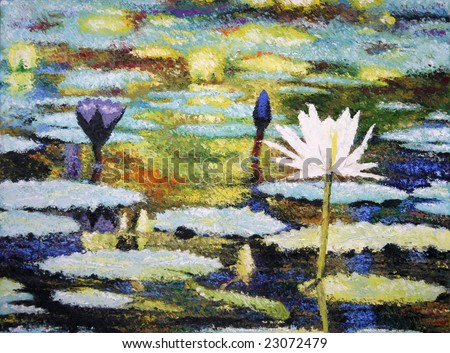 Photo of an impressionist painting of lilies (original art by me) - stock photo