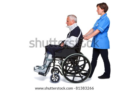 Photo of an injured man in a wheelchair with a female nurse pushing him, isolated on a white background. - stock photo