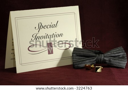 Photo of an Invitation and Bowtie - Formal Event - stock photo