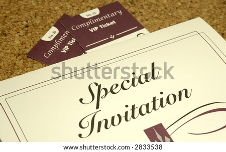Photo of an Invitation and 2 Tickets - Party Related - stock photo