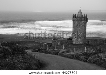 photo of an irish castle on a winters cold windy day