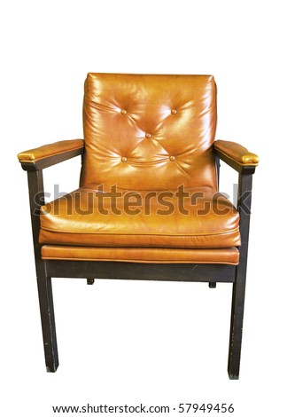 photo of an old chair isolated against white background - stock photo