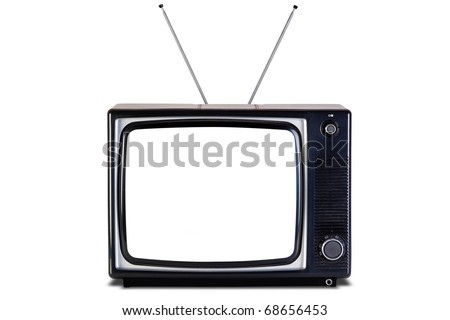 Photo of an old retro black and white tv set, blank screen,isolated on a white background with slight shadow, with clipping paths for television and the screen. - stock photo