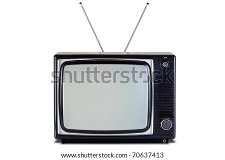 Photo of an old retro black and white tv set, isolated on a white background, with clipping paths for television and the screen. - stock photo