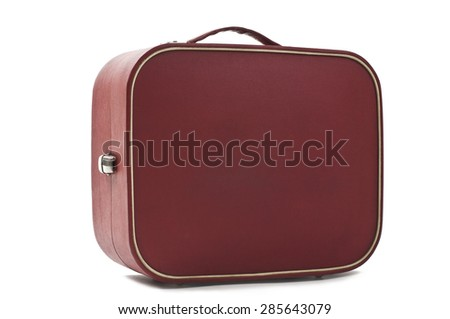 photo of an Old retro style red suitcase isolated on white background. Studio shot - stock photo