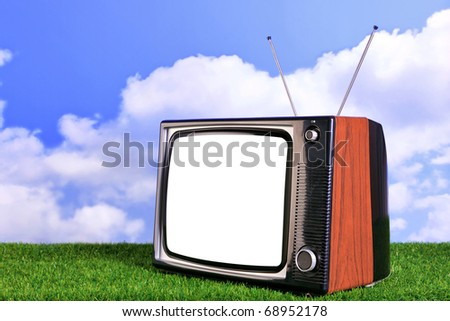 Photo of an old retro TV outdoors on grass with blue sky and white clouds in the background, blank screen with clipping path to add your own content. - stock photo