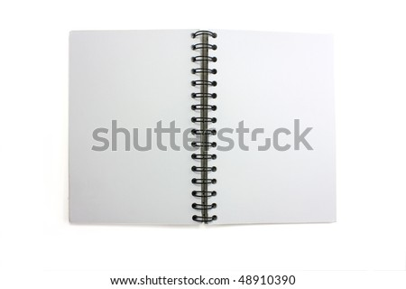 Photo of an open isolated skretchbook with wirobound spine - stock photo