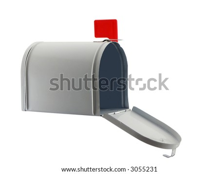Photo of an open mailbox isolated on white