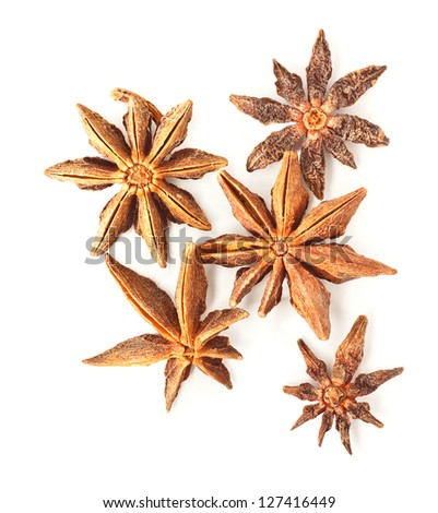 Photo of anise stars on a white background - stock photo