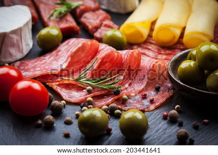Photo of antipasti and appetizers  - stock photo