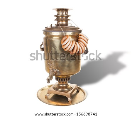 photo of antique Russian samovar - special boiler used for making tea. This samovar was used on Russian railroad, there are some notes about this on it's body